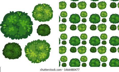 Seamless pattern of leaves on white  illustration