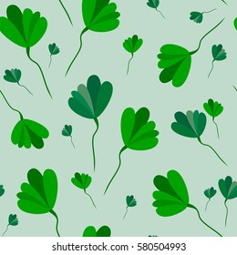 Seamless pattern of leaves on a white background. Vector.