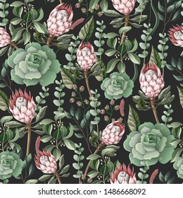 Seamless pattern with leaves, protea flowers, succulent and eucalyptus.