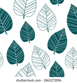 Seamless pattern leaves silhouettes vector illustration
