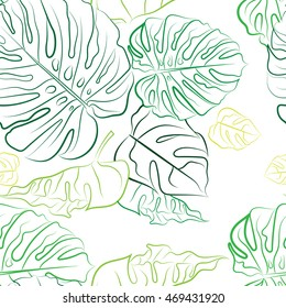Seamless pattern of leaves of tropical plants. Leaves eye-pleasing shades of green. The pattern is made in the circuit follows the curve of the leaves. Botanical print.