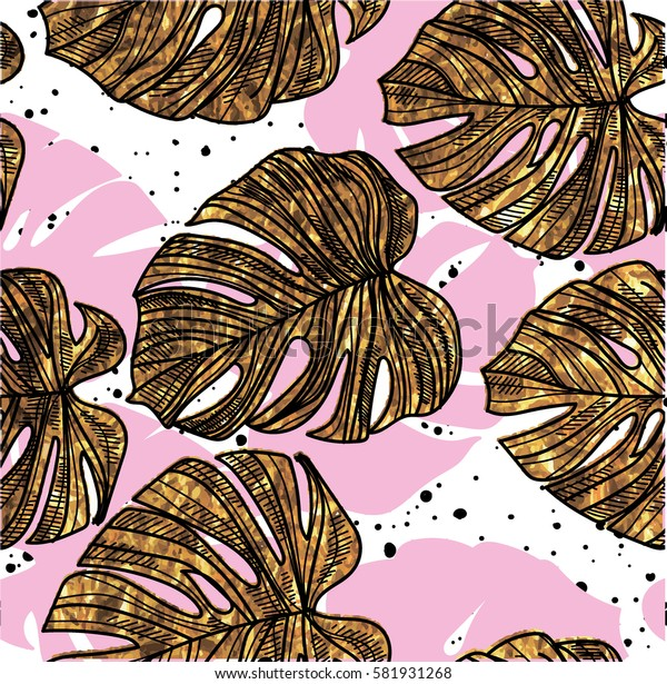 Seamless pattern with leaves of tropical plants. Juicy, fresh background. Summer pattern.
