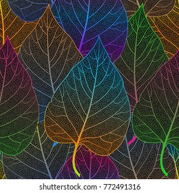 Seamless pattern with leaves. Vector illustration.