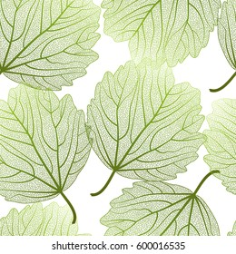 Seamless pattern with  leaves.Heart-shaped leaves.Vector illustration