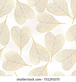 Seamless pattern with  leaves.Heart-shaped leaves.Vector illustration.