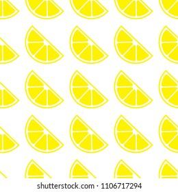 Seamless pattern with lemon. Lemons on white background. Cute cartoon. Summer garden. Lemon jam. Vector illustration. Textile rapport.