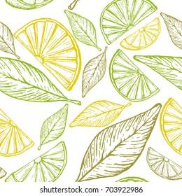 Seamless pattern with lemon slices and lemon leaves. Vector illustration. Hand-drawn illustration