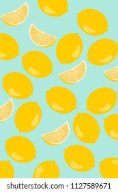 Seamless pattern with lemons background Vector illustration