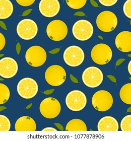 Seamless Pattern with Lemons. Fresh Citrus Fruit Background with Green Petals. Stylized Slice and Flesh of Lemons. Seamless Pattern with Vector Lemons for Tablecloth, Paper, Fabric, Textile.