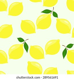 Seamless pattern with lemons and leaves.