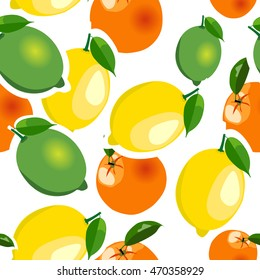 Seamless pattern with lemons, limes and oranges stickers different sizes with leaves on white background.