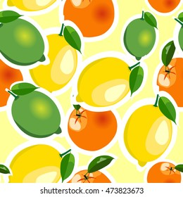 Seamless pattern with lemons, limes and oranges stickers different sizes with leaves on yellow background.