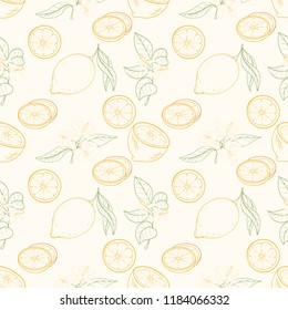 Seamless pattern of lemons on light background. Ripe sweat citrus fruits can be used for wallpaper, textile, wrapping paper or website background. Perfect for textile, posters, banner or menu
