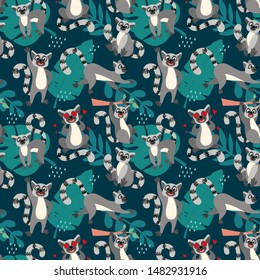 Seamless pattern with lemurs. Animals in cartoon style for kids, children's books and games, print. Tropical animals and palm leaves for decoration, background, design.