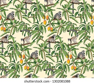 Seamless pattern of lemurs and mango branches.