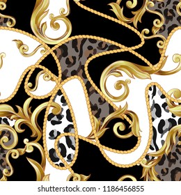 Seamless pattern with leopard skin and golden baroque elements.