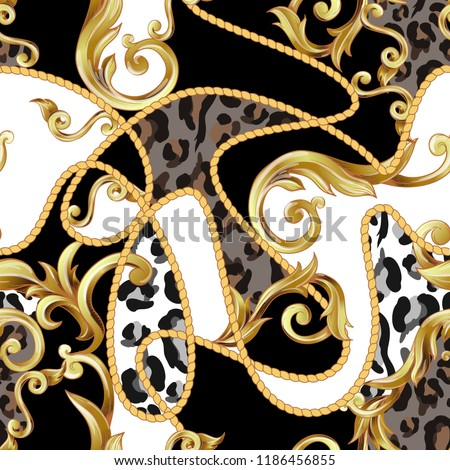 Seamless pattern with leopard
