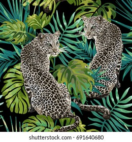 Seamless pattern of leopard and tropical leaves on a black background.