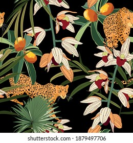 Seamless pattern with leopards animals, tropical leaves and orchid flowers. Trendy simple style. Vintage black background.