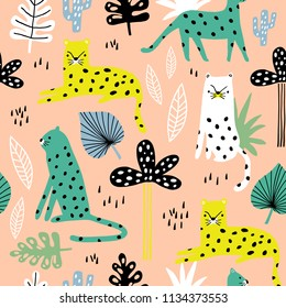 Seamless pattern with leopards, palm branch and tropical background. Creative jungle childish texture. Great for fabric, textile Vector Illustration