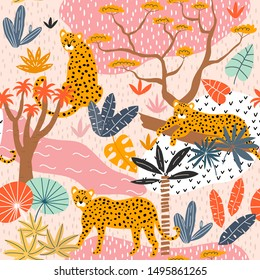Seamless pattern with leopards and tropical landscape. Creative jungle childish texture. Great for fabric, textile, wallpaper. Vector Illustration.