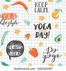 Seamless pattern with lettering phrases, leaves, flowers, vegetables and fruit. Healthy lifestyle and yoga concept. Texture for textile, wrapping paper and packaging. Vector on checkered background.