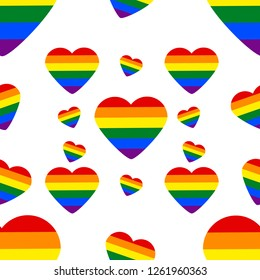 Seamless Pattern with LGBT rainbow heart. Celebrating gay people rights. Same-sex love. Pride. Vector Illustration