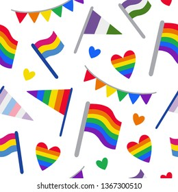 Seamless pattern with LGBTQ community pride flags: gay, genderqueer, pansexual, intersexual. Pride month symbol. Hand drawn vector illustration for wrapping paper, fabric, print, wallpaper.