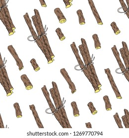 Seamless pattern Licorice sticks root vector hand drawn illustration isolated on white background, ink sketch, decorative herbal colorful doodle, medical herbs for design cosmetics, natural medicine