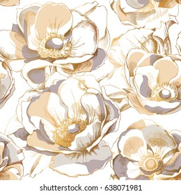 Seamless pattern with a light gold Anemone flowers. Vector illustration.