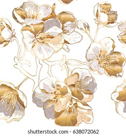 Seamless pattern with a light gold Cherry flowers. Vector illustration.