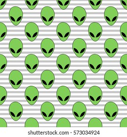 Seamless pattern in light gray and white a thin strip green alien head.