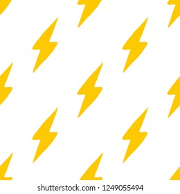 Seamless pattern with lightning bolt drawn by hand. Vector background