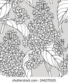 Seamless Pattern Lilac Black & White