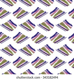 Seamless pattern with lilac, green and pink elements on white background