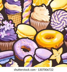 Seamless pattern with lilac and yellow sweets