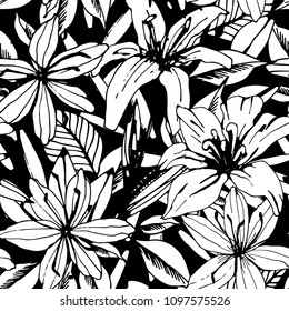 Seamless pattern with lilies, flowers, leaves. Floral background texture. Fabric design in black and white