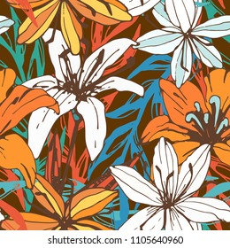 Seamless pattern with lilies. Flowers, leaves. Floral background texture. Fabric design