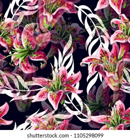 Seamless pattern with lilies flowers and tropical leaves on dark background. Vector illustration.