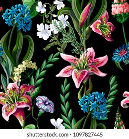 Seamless pattern with lilies and wild flowers. Vector illustration.