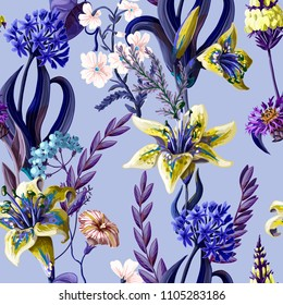 Seamless pattern with lilies and wild flowers.