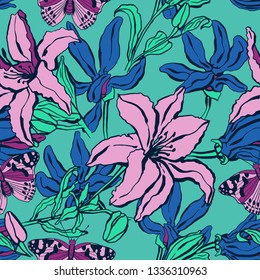 Seamless pattern with lilium, ylang flowers. Colorful vector illustration. Print for home textile and clothes, fabric, textile