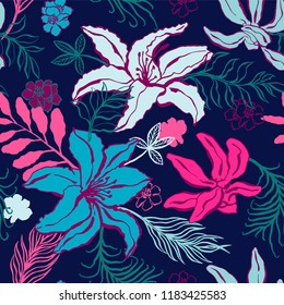 Seamless pattern with lilium, ylang, roses, carnation flowers. Colorful vector illustration. Print for home textile and clothes, fabric, textile