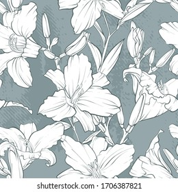 Seamless pattern. Lily flower drawings. Black and white with line art on white backgrounds. Hand Drawn Botanical Illustrations.