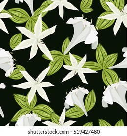 Seamless pattern. Lily flowers and leaves on a green background.