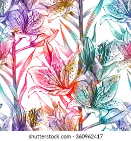 Seamless pattern with lily flowers. Vector, EPS 10