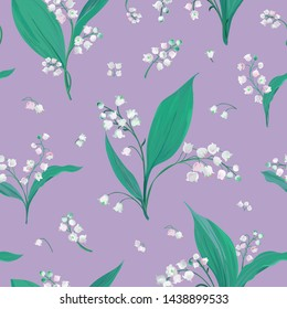 Seamless pattern with lily of the valley and snowdrop flowers, botanical floral textile print, cover design illustration in Vector