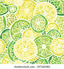 Seamless pattern with lime and lemon