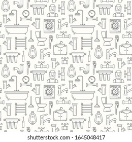 Seamless pattern with line style plumbing icons. Thin line background for plumbing service. Bathroom pattern with outline black icons of bathtub, wrench, shower, pipe, leakage, drop, meter and plunger