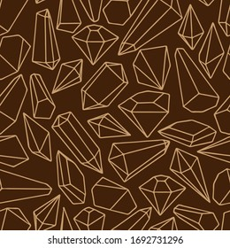 seamless pattern, linear pattern of crystals and diamonds, in brown, ornament for wallpaper and fabric, wrapping paper, background for design